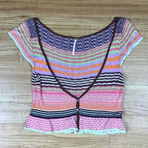 Free People Rainbow Stripe Festival Knit Crop Top